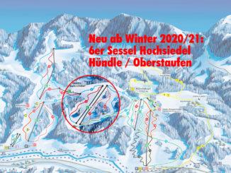 Neue 6er Sesselbahn Hochsiedel im Skigebiet Hündle / Oberstaufen. Bild: Hündle GmbH & Co. KG
