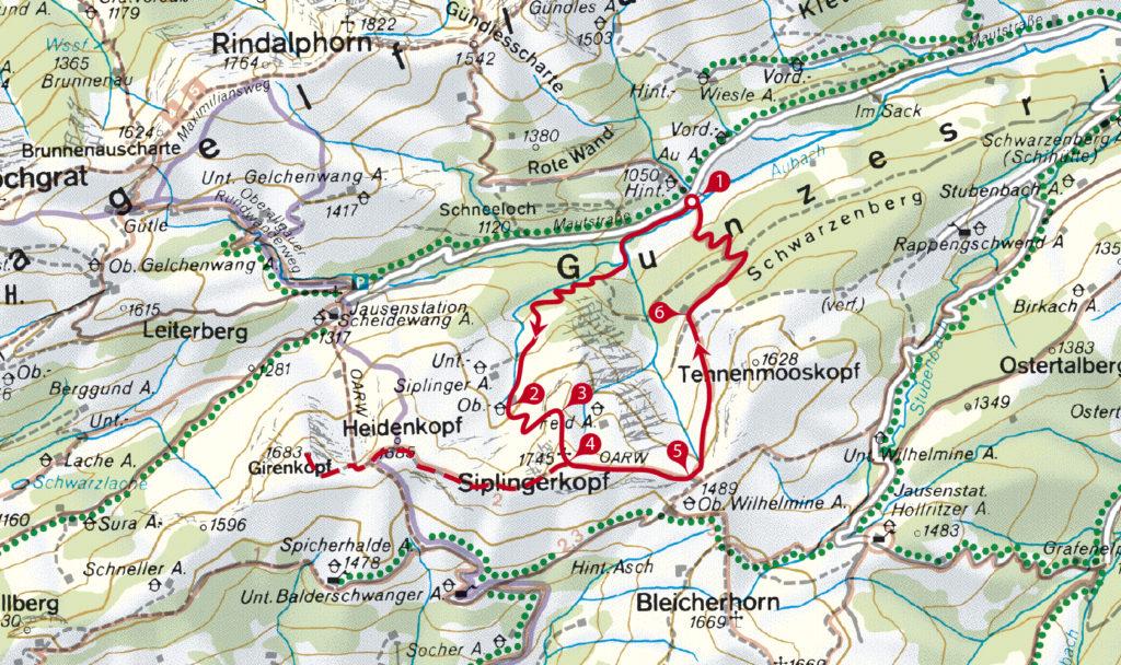 Kartenausschnitt der Tour zuum Siplingerkopf. // (c) OpenStreetMap und Mitwirkende