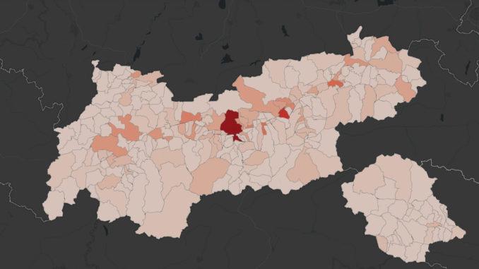 Corona-Karte des Landes Tirol auf Ebene der Gemeinden.
